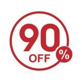 Vector el sello redondo el 90% del descuento plano minimalista apagado Fotos de archivo libres de regalías