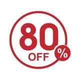 Vector el sello redondo el 80% del descuento plano minimalista apagado Fotografía de archivo