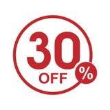 Vector el sello redondo el 30% del descuento plano minimalista apagado Fotos de archivo