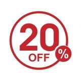 Vector el sello redondo el 20% del descuento plano minimalista apagado Imagenes de archivo