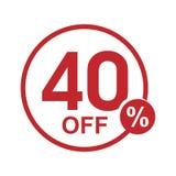 Vector el sello redondo el 40% del descuento plano minimalista apagado Fotos de archivo libres de regalías