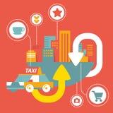 Vector el servicio del taxi en ciudad grande con los iconos Imagen de archivo libre de regalías