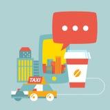 Vector el servicio del taxi en la ciudad de edificios, del café y del teléfono Foto de archivo