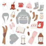 Vector el sistema caliente de la ropa del invierno del sombrero, bufanda, suéter, invierno de la ropa del diseño del suéter del e Imagenes de archivo