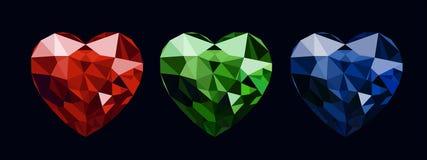 Vector el sistema de color de la forma del corazón de las piedras de gema del ejemplo libre illustration