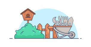Vector el sistema de herramientas plano de jardines con la pajarera, silencio, cerca, pruner, bifurcación, carretilla Fotografía de archivo