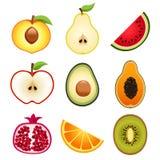 Parta en dos los iconos de las frutas Imagen de archivo libre de regalías