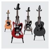 Vector el sistema de la guitarra eléctrica del ejemplo y de la guitarra acústica con el soporte Imagen de archivo libre de regalías
