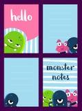 Vector el sistema de tarjetas vertical de nota con los monstruos lindos en fondo de las rayas del cepillo stock de ilustración