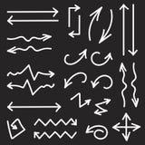 Vector el sistema del negro de 26 flechas dibujadas mano Imágenes de archivo libres de regalías