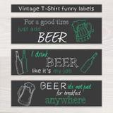 Vector el sistema divertido dibujado mano de la cerveza del vintage de t Fotografía de archivo