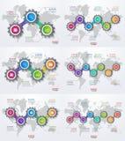 Vector el sistema infographic de plantillas con los engranajes y el mapa del mundo Fotografía de archivo libre de regalías