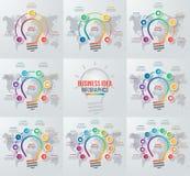 Vector el sistema infographic del círculo de la bombilla de la idea de plantillas Fotos de archivo libres de regalías