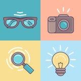 Vector el sistema linear de iconos de las herramientas del diseñador gráfico Fotografía de archivo