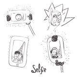 Vector el sistema a mano de selfie con la gente adentro Imagen de archivo libre de regalías