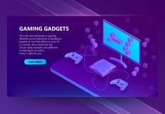 Vector el sitio isométrico del juego 3d, dispositivos electrónicos stock de ilustración
