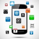 Smartphone con la flotación de Apps Fotos de archivo