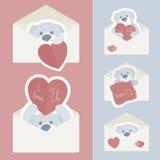 Vector el sobre del vintage con dentro rojo y azul del papel el oso de peluche Día de tarjeta del día de San Valentín ilustración del vector