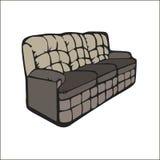 Vector el sofá con decorativo para la sentada del salón o el ejemplo realista del diseño del hogar de la sala de estar Muebles do stock de ilustración