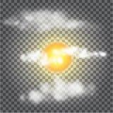 Vector el sol transparente, diversas nubes, luz del sol Imagen de archivo
