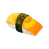 Vector el sushi del huevo con nori en estilo de la historieta Aislado en el fondo blanco Fotografía de archivo