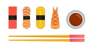 Vector el sushi y los rollos fijados aislados en el fondo blanco Imagenes de archivo