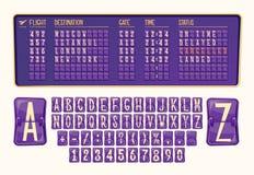 Vector el tablero del ejemplo de llegada y de salida en el aeropuerto con diversos números y las letras en estilo de la historiet stock de ilustración