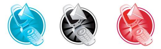 Vector el teléfono con los sms Imágenes de archivo libres de regalías