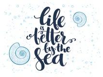 Vector el texto del verano de las letras de la mano sobre el mar con las cáscaras y las burbujas del garabato stock de ilustración