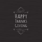 Vector el texto feliz de la acción de gracias con las hojas y la calabaza en fondo de madera oscuro stock de ilustración