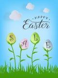 Vector el texto feliz de la venta de Pascua en los huevos de Pascua en el fondo de la naturaleza para la tarjeta de felicitación  ilustración del vector
