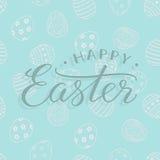 Vector el texto feliz de Pascua en el fondo azul claro de pascua para la tarjeta de felicitación libre illustration