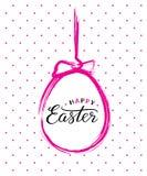 Vector el texto feliz de Pascua en el huevo de Pascua pintado cepillo rosado para la tarjeta de felicitación pascual libre illustration