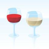 Vector el vino blanco rojo y Fotografía de archivo