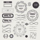 Vector el vintage del logotipo y la calidad del premio de los elementos del diseño de los marcos Imagenes de archivo