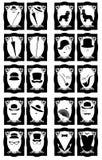 Vector el wc del retrete de las damas y caballeros o el lavabo firma adentro figuras retras del estilo con los accesorios Fotos de archivo