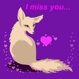 Vector el zorro en amor con la Srta. de las palabras usted Fotografía de archivo libre de regalías