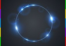 Vector electric blue frame with light effect flare and sparks. Shining round Christmas cold banner. Frozen glow ring  Royalty Free Stock Image