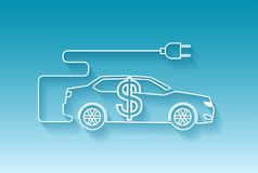 Vector of electric car icon with dollar sign. On blue bacground royalty free illustration