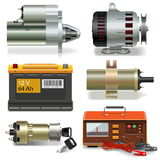 Vector Electric Car Parts Icons Stock Images