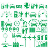 Vector electric cars stick pictograms set. Ecology and environment infographics elements and figures Stock Photo