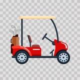Vector electric golf car with golf club bag. Transport, vehile on transparent background.