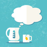 Vector electric kettle and speech bubble Stock Images