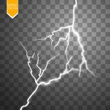 Vector electric lightning bolt. Energy effect. Bright light flare and sparks on transparent background. EPS 10 stock illustration