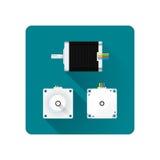 Vector electric motor flat illustration Royalty Free Stock Photo