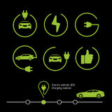 Vector electric vehicle. Electric car icon. Hybrid car illustration. Royalty Free Stock Images