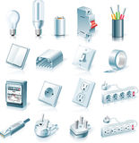 Vector electrical supplies icon set. Set of detailed electrical supplies icons Royalty Free Stock Images