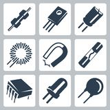 Vector electronic components icons set. Resistor, transistor, capacitor, inductance coil and magnet, preventer, microcircuit, diode, varistor Stock Image