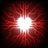 Vector electronic connected heart Stock Photos