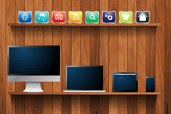 Vector electronic devices computer on wood shelf Royalty Free Stock Images